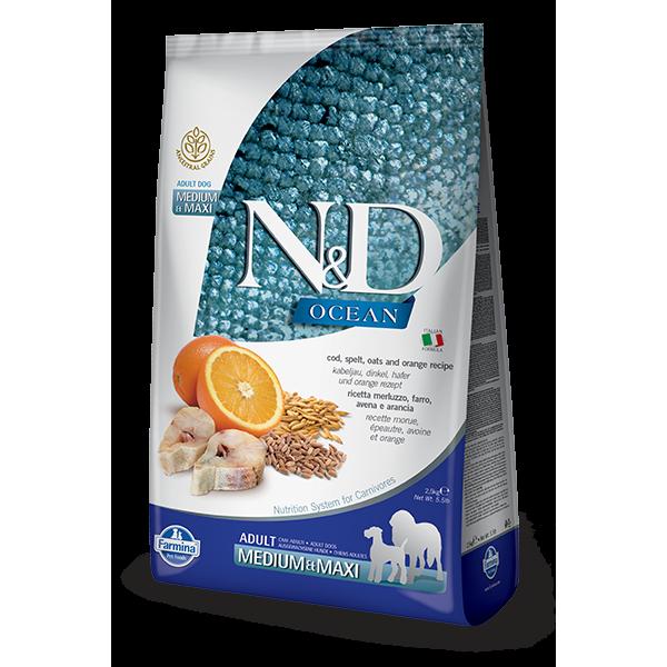 N&D Healthy Grain, Ocean Dog, Adult Medium Maxi, Peste si Portocale, 12 kg